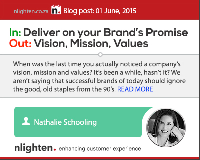 nlighten.co.za - Customer Experience Blog 01 June 2015, Vision, Mission, Values