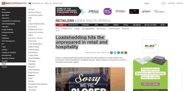Loadshedding hits the unprepared in retail and hospitality