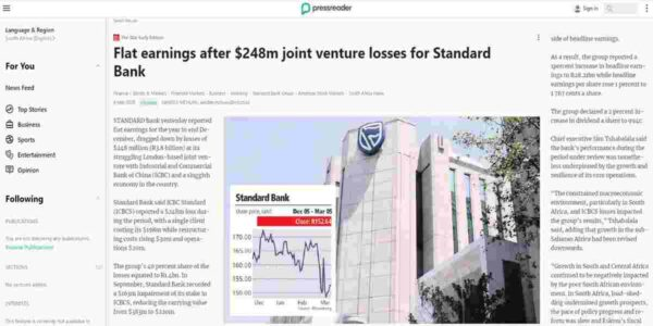 Flat earnings after $248m joint venture losses for Standard Bank