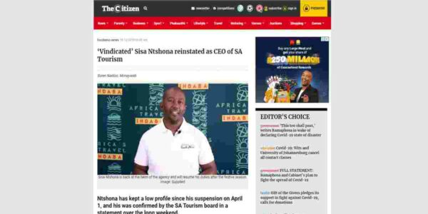 'Vindicated' Sisa Ntshona reinstated as CEO of SA Tourism